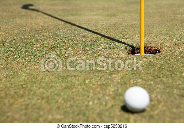 Golf ball and flag in hole - csp5253216