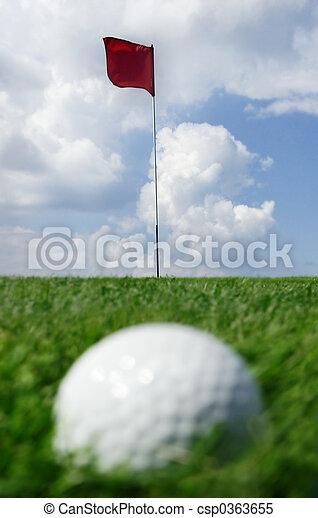 golf ball and flag - csp0363655