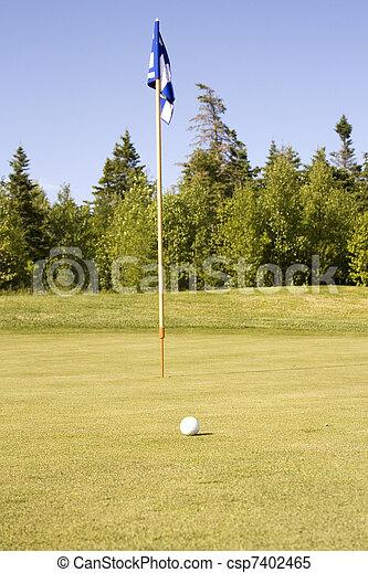 Golf ball and Flag - csp7402465