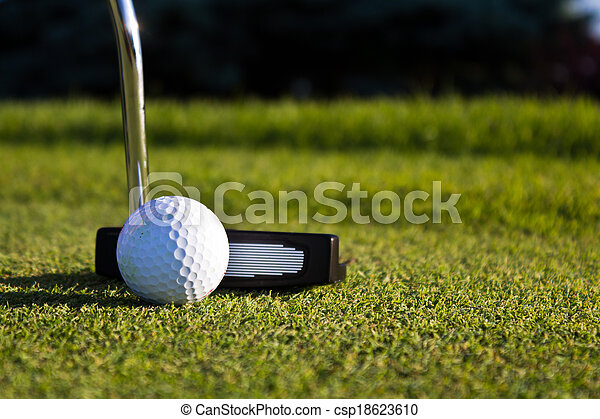 Golf ball and putter on the green - csp18623610
