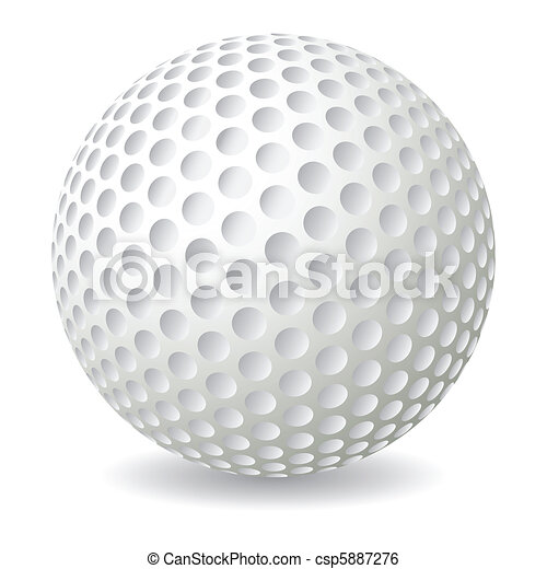 golf ball isolated on white background vector illustration
