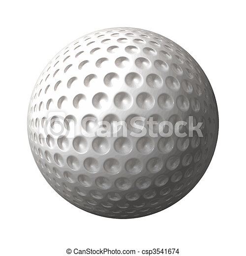 a great 3d rendered golf ball isolated on white background