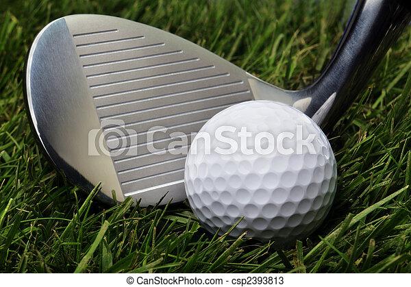 Golf ball in grass - csp2393813
