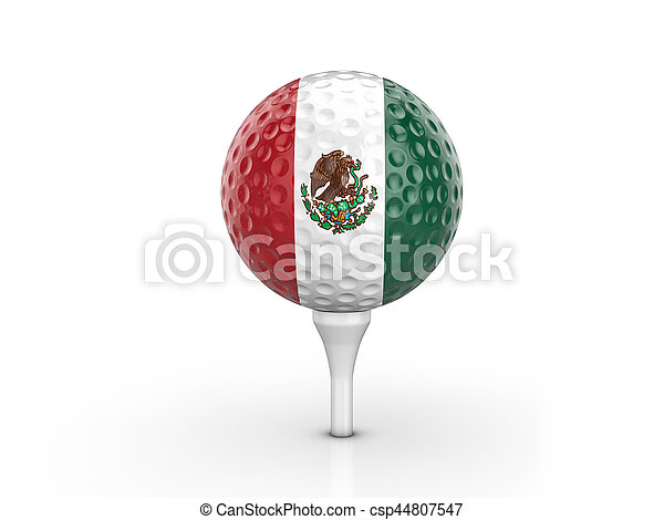 Golf ball Mexico flag - csp44807547