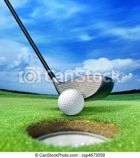 golf ball near bunker - csp4673059