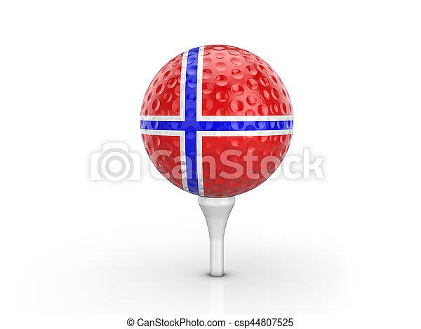 Golf ball Norway flag - csp44807525