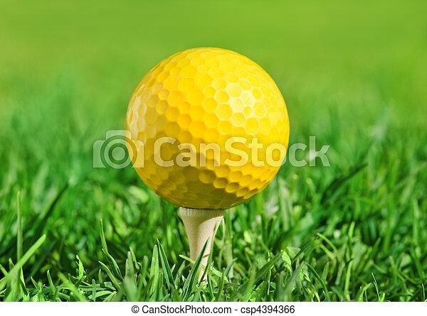 golf ball on a green grass - csp4394366