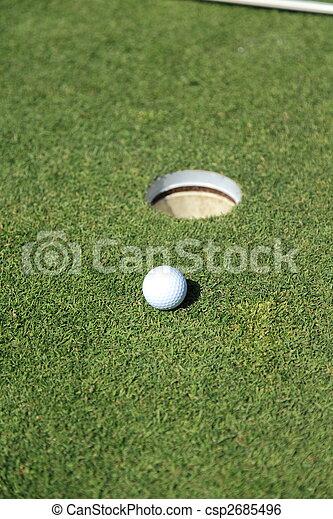 golf ball on a green - csp2685496