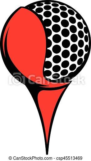 golf ball on a tee icon icon cartoon golf ball on a tee clip rh canstockphoto com black golf tee clip art