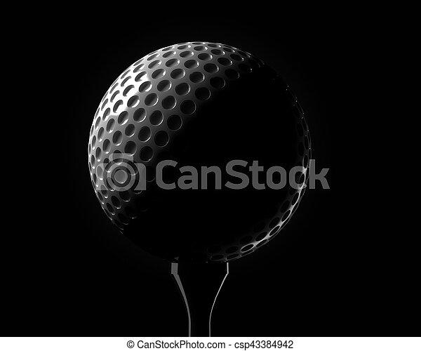 Golf ball on a tee - csp43384942