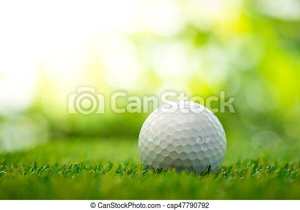 golf ball on fairway - csp47790792