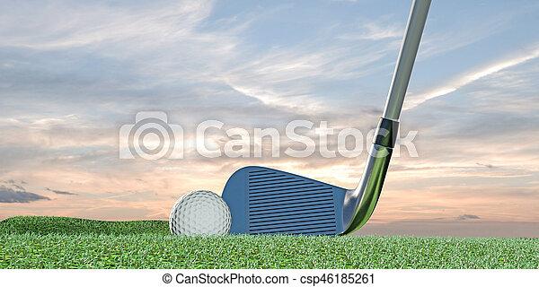 golf ball on green - csp46185261