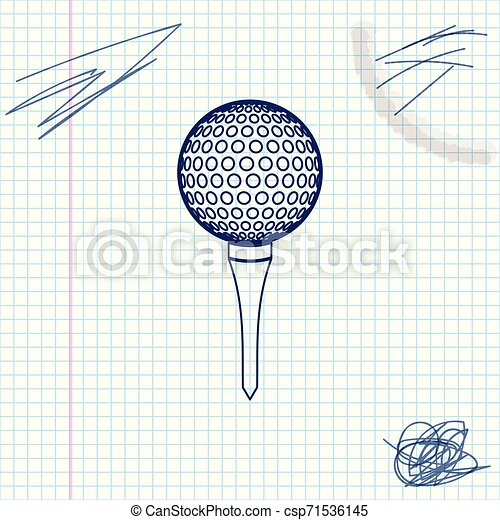 Golf ball on tee line sketch icon isolated on white background. Vector Illustration - csp71536145