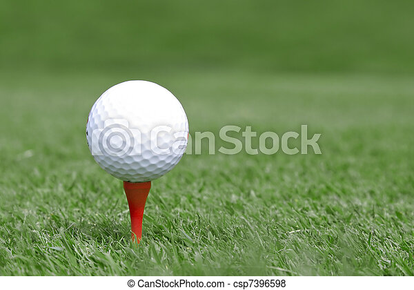 golf ball on tee - csp7396598