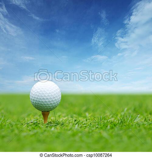 Golf ball on tee - csp10087264