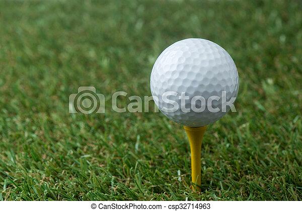 golf ball on tee - csp32714963