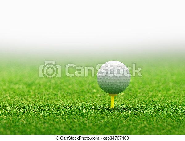 Golf ball on tee - csp34767460