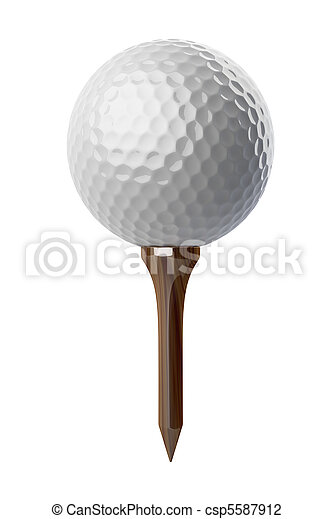 Golf ball on tee - csp5587912
