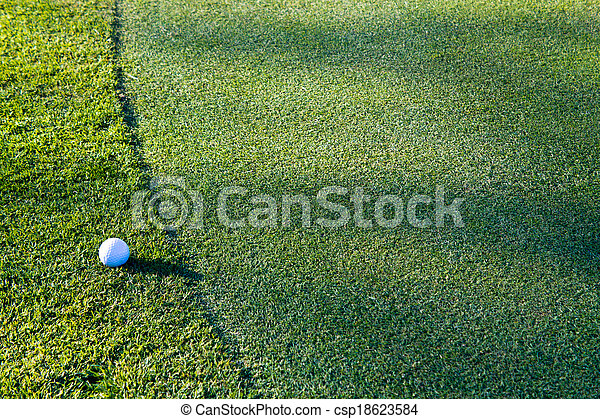 Golf ball on the edge of the green - csp18623584