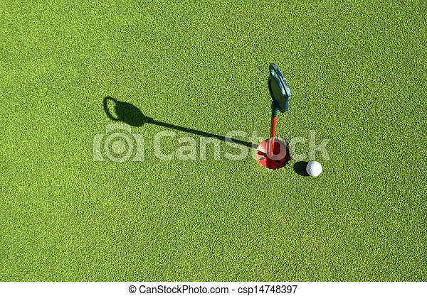 golf ball on the green - csp14748397
