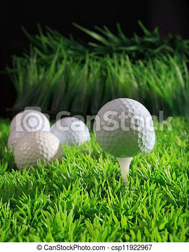 golf ball on white tee - csp11922967