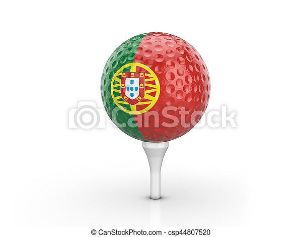 Golf ball Portugal flag - csp44807520