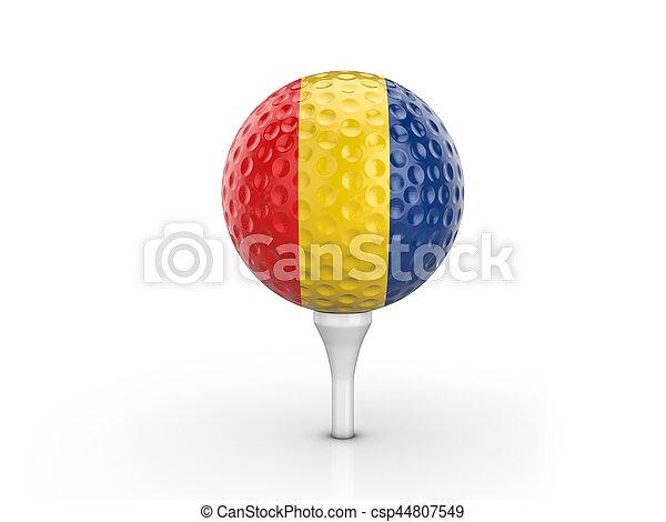 Golf ball Romania flag - csp44807549