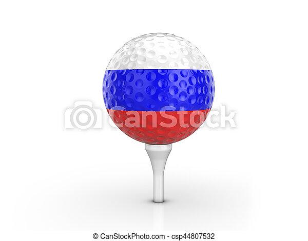 Golf ball Russia flag - csp44807532