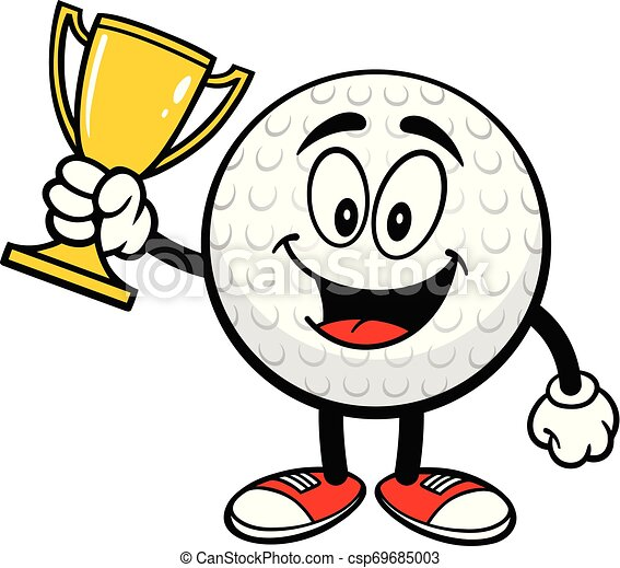Golf Ball With A Trophy A Cartoon Illustration Of A Golf Ball Mascot