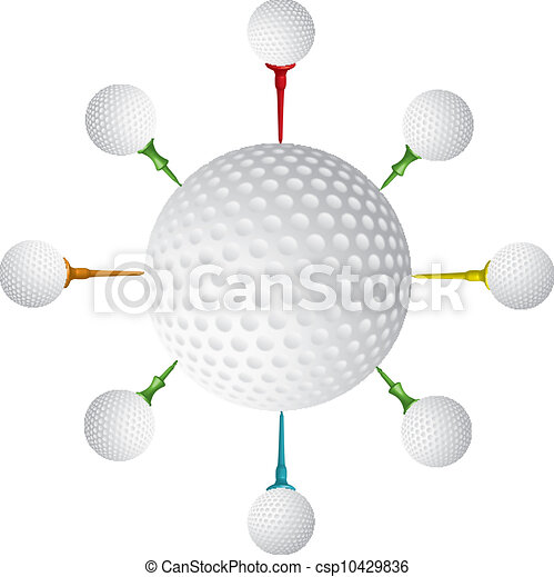 Golf ball,golf tee design,vector - csp10429836