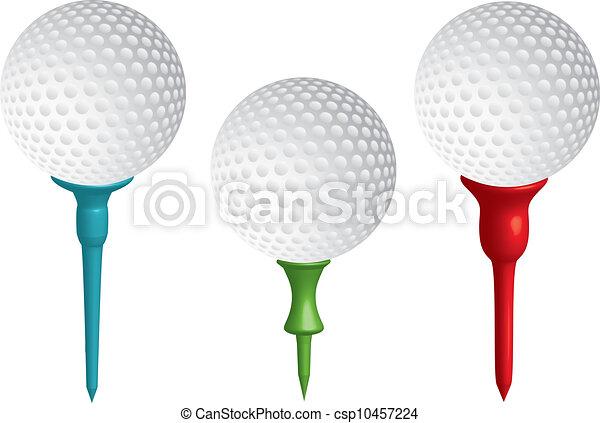 Golf balls on golf tees,vector - csp10457224
