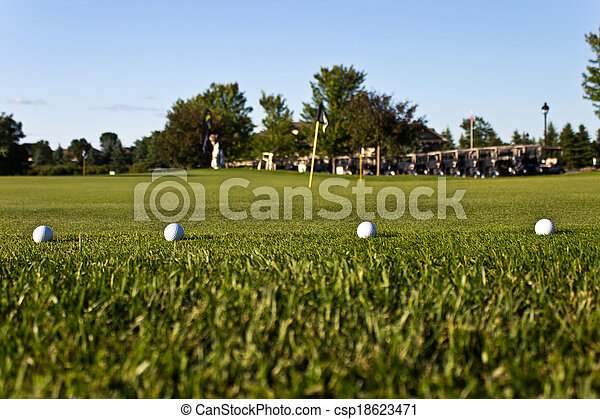 Golf balls on the practice green - csp18623471