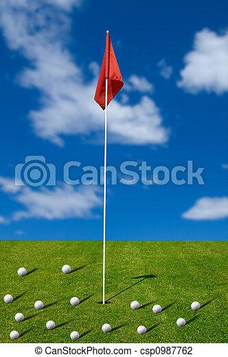 Golf balls on the putting green - csp0987762