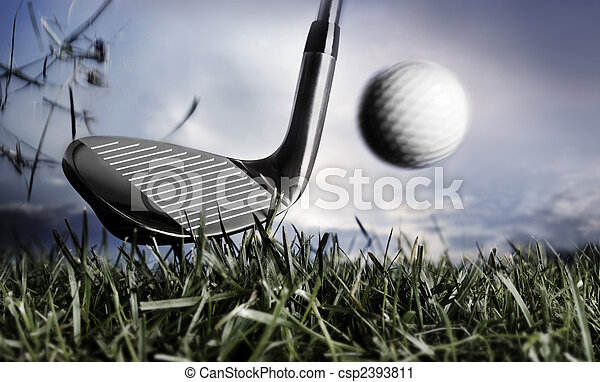 Golf club and ball in grass - csp2393811