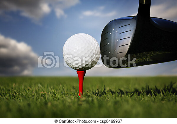Golf club and ball in grass - csp8469967