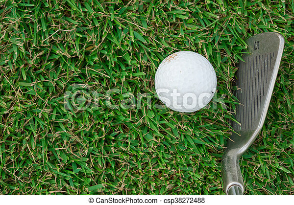 Golf club and ball in grass - csp38272488