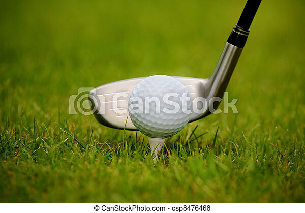 Golf club and ball in grass - csp8476468