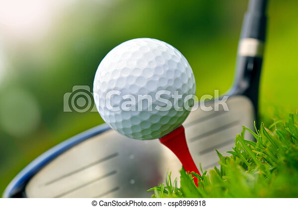 Golf club and ball in grass - csp8996918