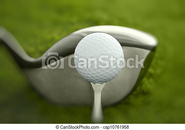 Golf club and ball in grass - csp10761958