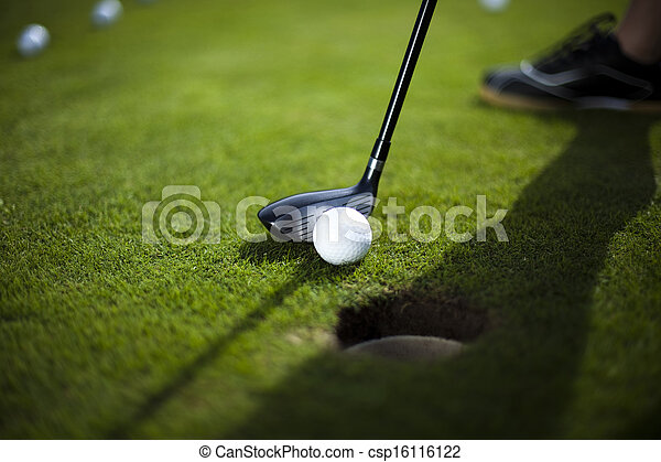 Golf club and ball in grass - csp16116122