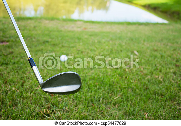 Golf club and ball in grass - csp54477829