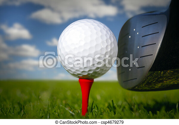 Golf club and ball in grass  - csp4679279