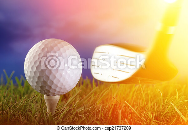 Golf club and ball in grass - csp21737209
