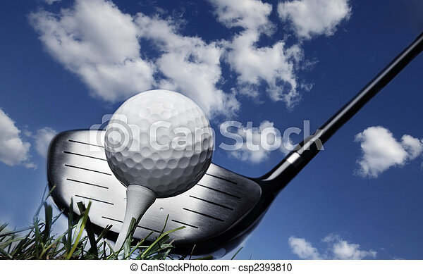 Golf club and ball in grass - csp2393810