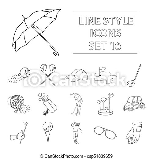 Golf Club Set Icons In Outline Style Big Collection Of Golf Club Bitmap Raster Symbol Stock Illustration Golf Club Set