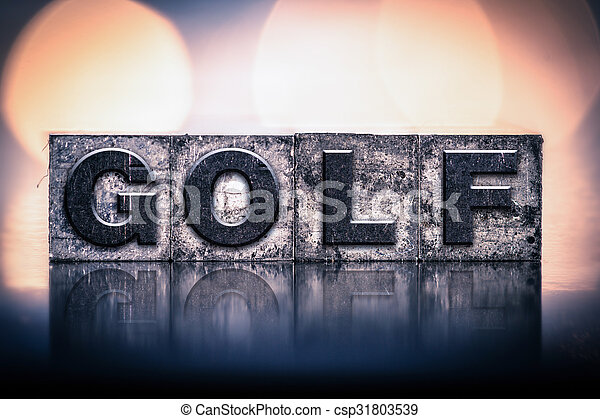 Golf Concept Vintage Letterpress Type - csp31803539