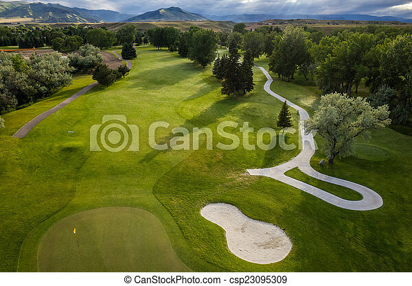 Golf Course Aerial - csp23095309