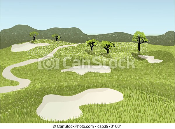 golf course golf place with gorgeous green and sand bunker vector rh canstockphoto co uk golf course clip art free golf club clip art black and white