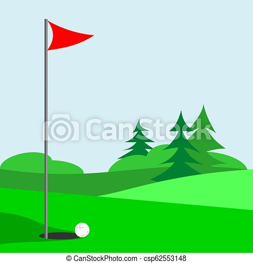 Golf Course Golf Course With Flag And Ball And Evergreen Trees In The Background