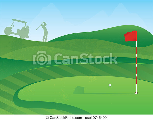 golf course hole golf course layout with red flag and ball eps rh canstockphoto com golf club clipart png golf club clip art